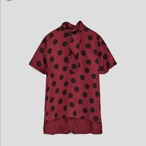 NEW! Zara Burgundy Polka Dot Blouse